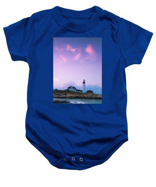 Maine Portland Headlight Lighthouse In Blue Hour Baby Onesie