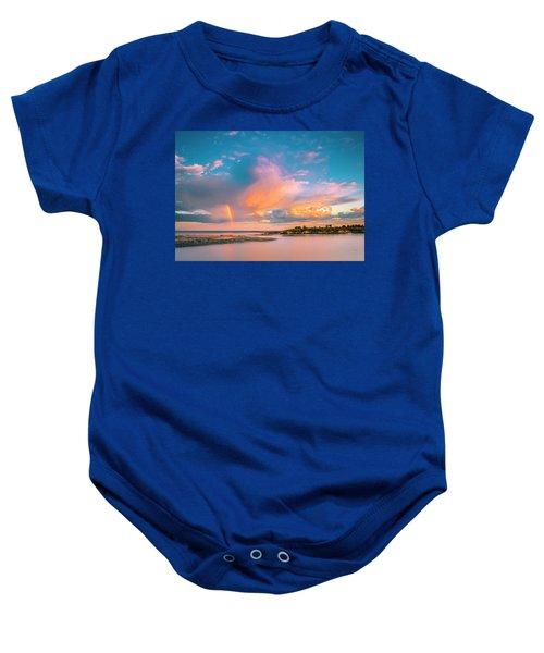 Maine Sunset - Rainbow Over Lands End Coast Baby Onesie