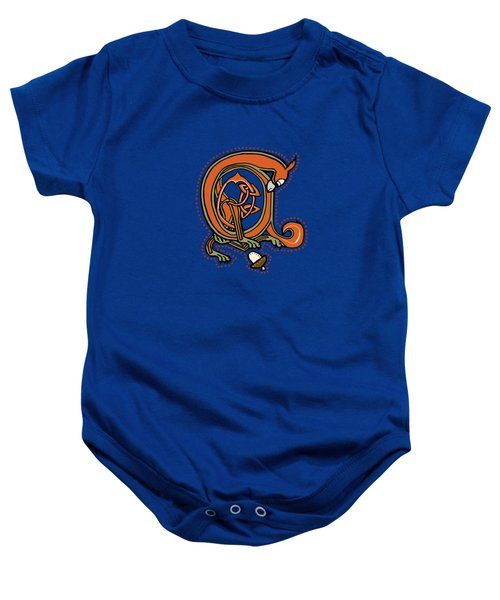 Medieval Squirrel Blue A Baby Onesie
