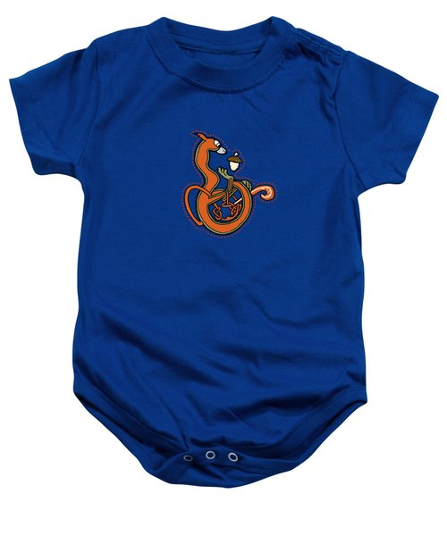 Medieval Squirrel Blue Letter B Baby Onesie by Donna Huntriss