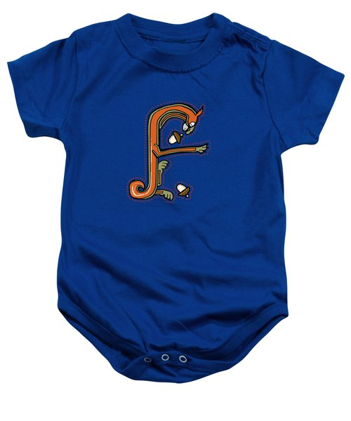 Medieval Squirrel Letter F Baby Onesie by Donna Huntriss