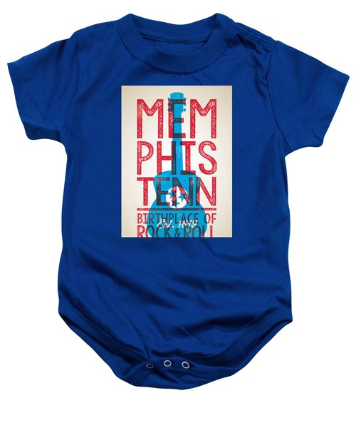 Memphis Tennessee - Birthplace Of Rock N Rll Baby Onesie by Jim Zahniser