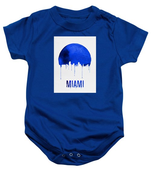 Miami Skyline Blue Baby Onesie by Naxart Studio
