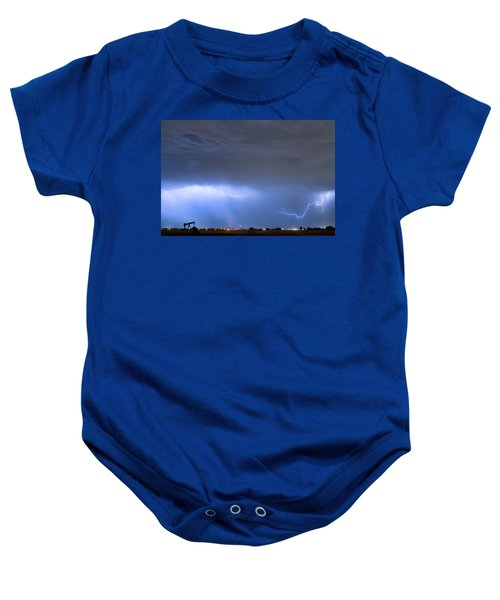 Baby Onesie featuring the photograph Michelangelo Lightning Strikes Oil by James BO Insogna