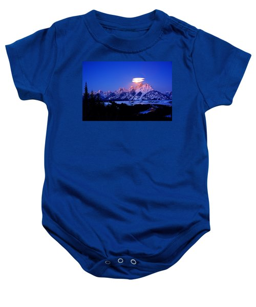 Moon Sets At The Snake River Overlook In The Tetons Baby Onesie