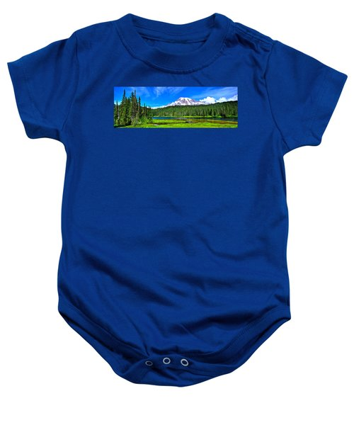 Mt. Rainier From Reflection Lakes Baby Onesie