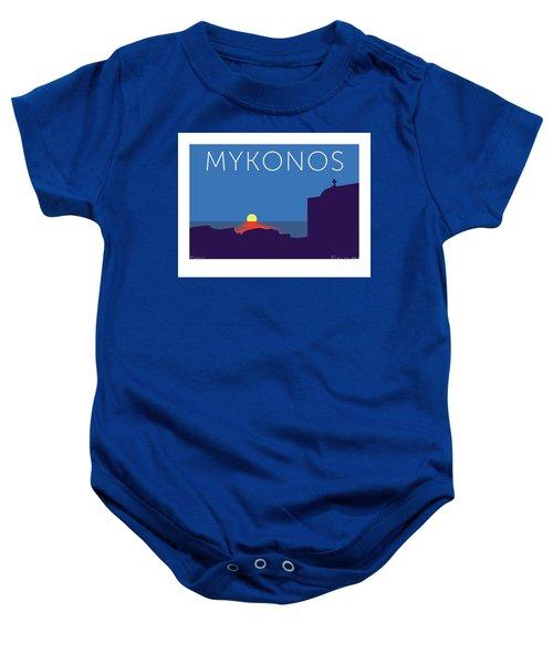 Mykonos Sunset Silhouette - Blue Baby Onesie