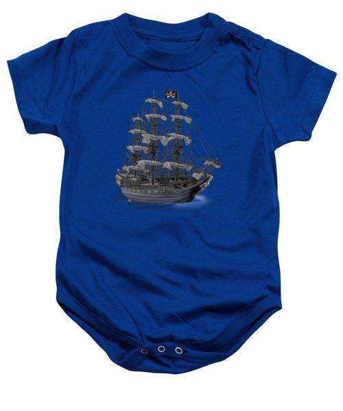 Mystical Moonlit Pirate Ship Baby Onesie by Glenn Holbrook