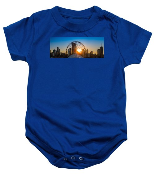 Navy Pier Sundown Chicago Baby Onesie by Steve Gadomski