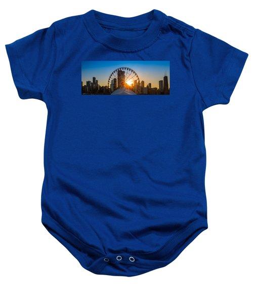 Navy Pier Sundown Chicago Baby Onesie