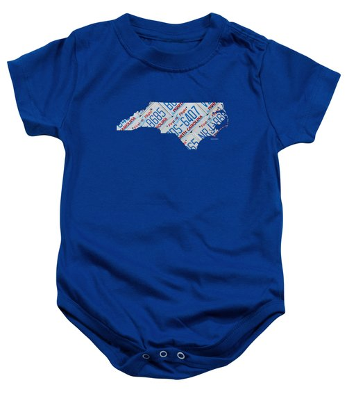 North Carolina Vintage Recycled License Plate Map On Blue Wood Plank Background Baby Onesie