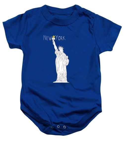 Ny Statue Of Liberty Line Art Baby Onesie by BONB Creative