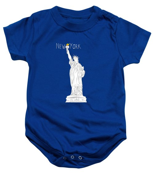 Ny Statue Of Liberty Line Art Baby Onesie