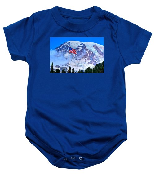 Old Glory At Mt. Rainier Baby Onesie