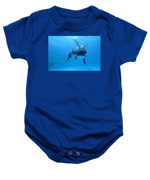Orca Orcinus Orca Mother And Newborn Baby Onesie