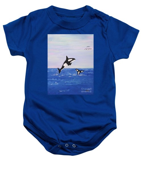 Orcas In The Morning Baby Onesie