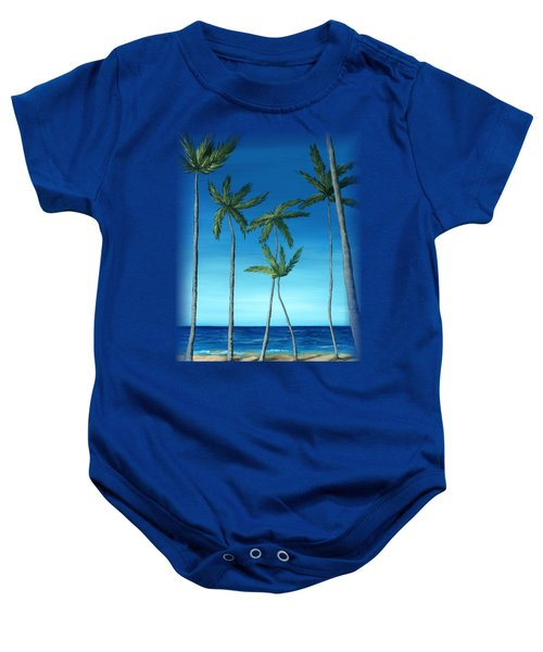 Baby Onesie featuring the painting Palm Trees On Blue by Anastasiya Malakhova