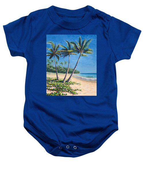 Tropical Paradise Landscape - Hawaii Beach And Palms Painting Baby Onesie