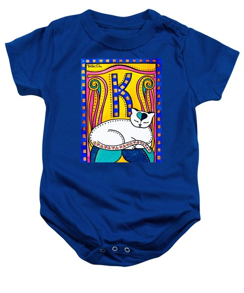 Baby Onesie featuring the painting Peace And Love - Cat Art By Dora Hathazi Mendes by Dora Hathazi Mendes