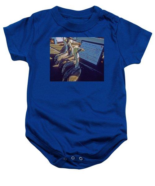 Pelicans And The Menu Baby Onesie