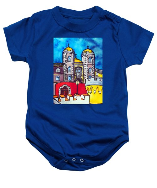 Baby Onesie featuring the painting Pena Palace In Sintra Portugal  by Dora Hathazi Mendes