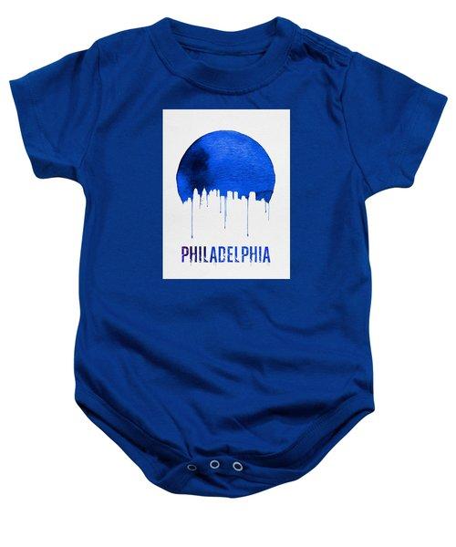 Philadelphia Skyline Blue Baby Onesie by Naxart Studio