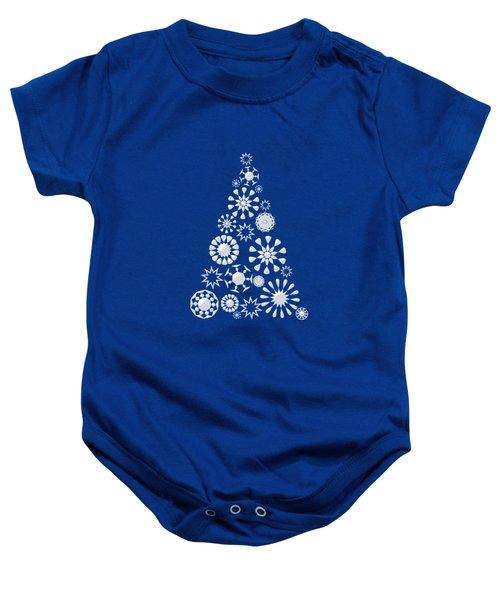 Pine Tree Snowflakes - Dark Blue Baby Onesie