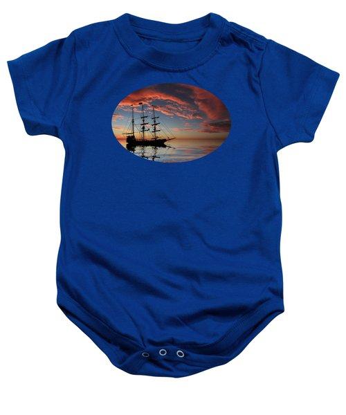Pirate Ship At Sunset Baby Onesie