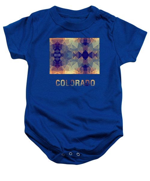 Polygon Mosaic Parchment Map Colorado Baby Onesie