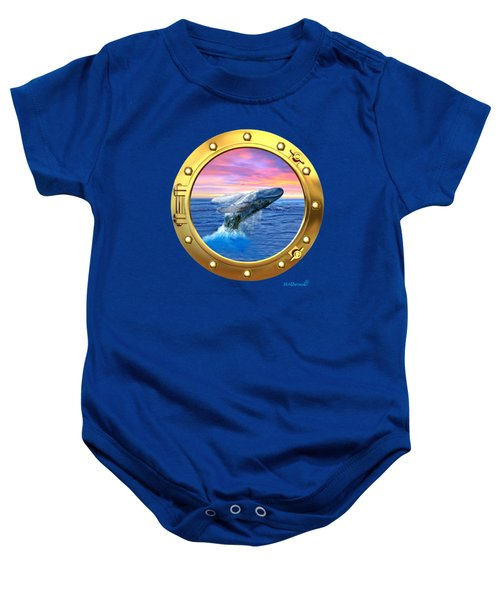 Porthole View Of Breaching Whale Baby Onesie by Glenn Holbrook