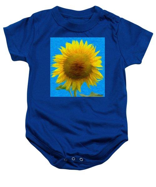 Portrait Of A Sunflower Baby Onesie