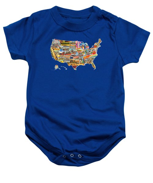 Postcards Of The United States Vintage Usa All 50 States Map Baby Onesie