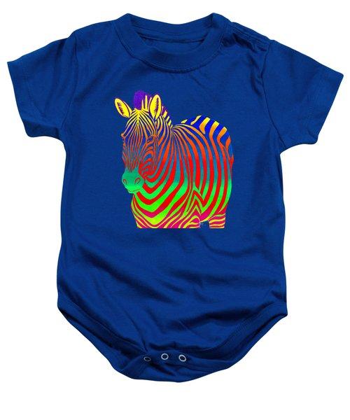 Psychedelic Rainbow Zebra Baby Onesie