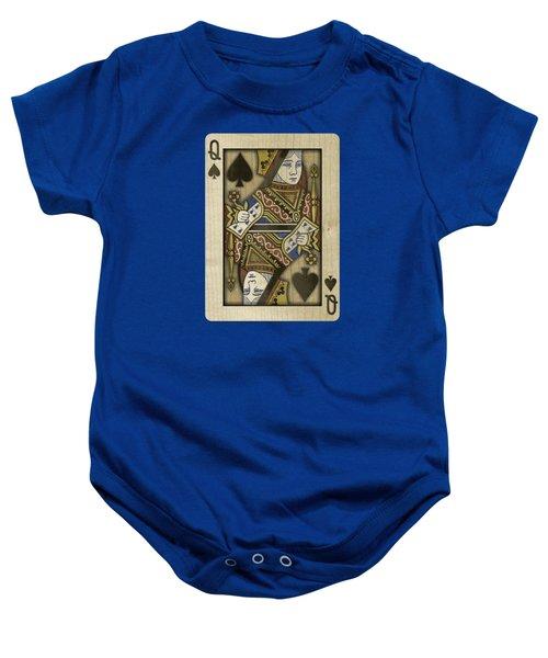Queen Of Spades In Wood Baby Onesie