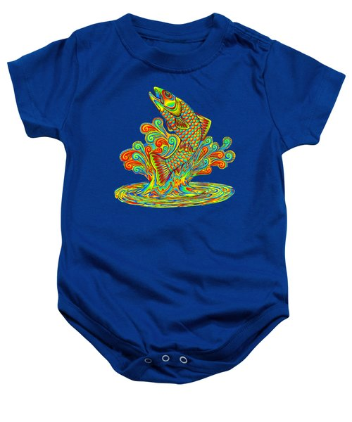 Rainbow Trout Baby Onesie by Rebecca Wang