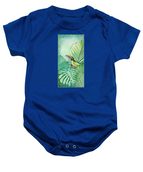 Rainforest Tropical - Tropical Toucan W Philodendron Elephant Ear And Palm Leaves Baby Onesie