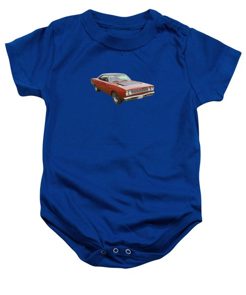 Red 1968 Plymouth Roadrunner Muscle Car Baby Onesie by Keith Webber Jr