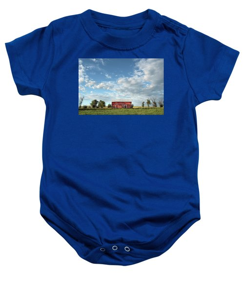 Red Barn On The Prairie Baby Onesie