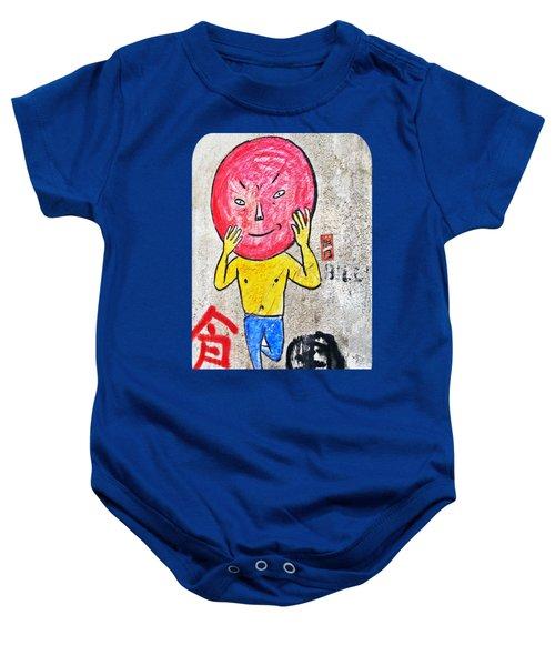 Red Head In Blue Tights Baby Onesie by Ethna Gillespie