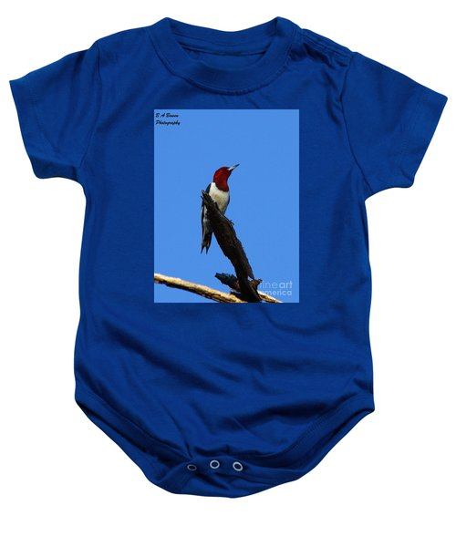 Red Headed Woodpecker On A Snag Baby Onesie