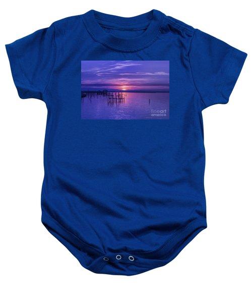Rest Well World Purple Sunset Baby Onesie