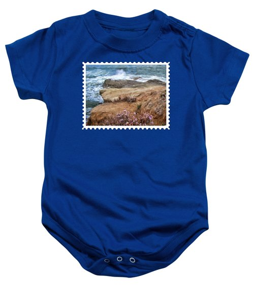 Rocks And Plants In The Central California Surf Oil Painting Baby Onesie