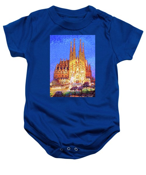 Sagrada Familia At Night Baby Onesie