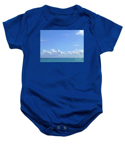 Baby Onesie featuring the photograph Sailing Blue Seas by Francesca Mackenney