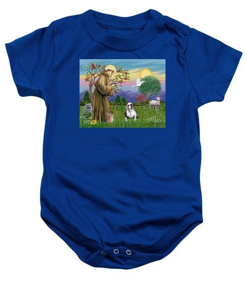 Saint Francis Blesses A Brown And White English Bulldog Baby Onesie