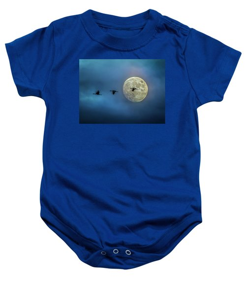 Sandhill Cranes With Full Moon Baby Onesie