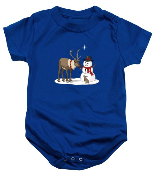 Santa Reindeer And Snowman Baby Onesie