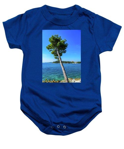 Seaside Leaning Tree In Rovinj, Croatia Baby Onesie