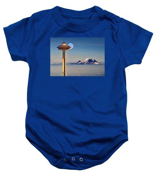 Seattle Needle At Moonrise Baby Onesie