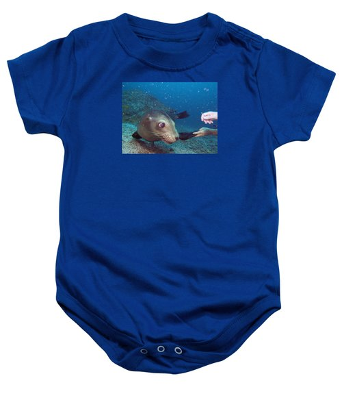 Shaking Hands And Fins Baby Onesie